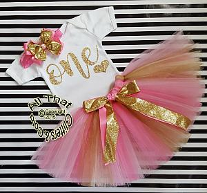 Pink And Gold One Year Old Birthday Tutu Skirt Outfit
