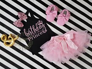 Black and Pink Birthday Princess Outfit With Pink Tutu Skirt