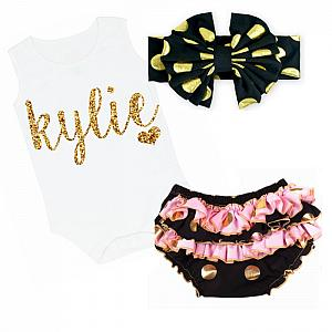 Cute Black, Pink and Gold Personalized Baby Girl Ruffled Bloomer Outfit