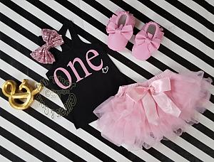 Black and Pink One Year Old Birthday Outfit With Pink Tutu Skirt