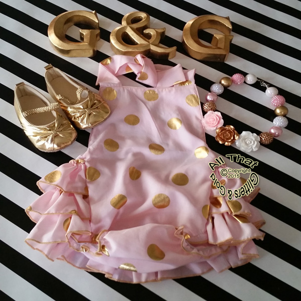 Cute Pink and Gold Polka Dot Baby and Little Girl Ruffle Romper