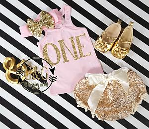 Pink and Gold Birthday Age Outfit With Gold Sequin Pom Pom Bloomers Ages 1 to 3