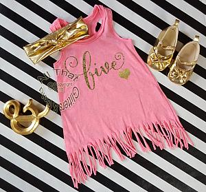 Pink and Gold Birthday Age Baby Girls and Little Girls Fringe Dress Age 1-6