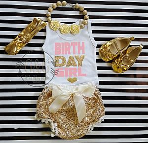 Pink, Ivory and Gold Birthday Girl Outfit With Gold Sequin Pom Pom Bloomers Ages 1 to 3