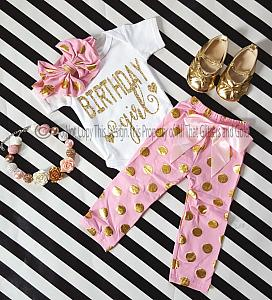 Pink and Gold Polka Dot One Year Old Birthday Girl Pants Outfits For Baby Girls