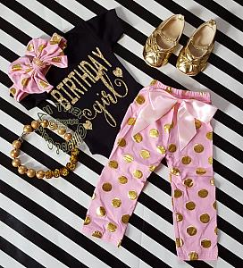 Pink, Black and Gold Polka Dot One Year Old Birthday Girl Pants Outfits For Baby Girls