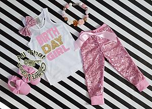 Pink and Gold Birthday Girl Sequin Birthday Pants Outfit