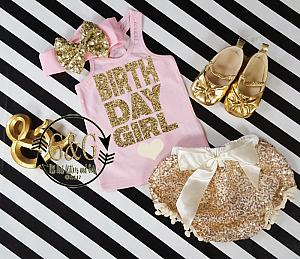 Cute Pink and Gold Birthday Girl Outfit With Gold Sequin Pom Pom Bloomers Ages 1 to 3