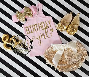 Pink and Gold Birthday Girl Outfit With Gold Sequin Pom Pom Bloomers Ages 1 to 3