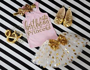 3 Pc Pink And Gold Birthday Princess Polka Dot Tutu Outfit Age 1 6