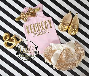 Pink and Gold Personalized Outfit With Gold Sequin Pom Pom Bloomers Ages 1 to 3