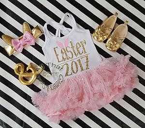 Pink and Gold Glitter 2pc Easter 2017 Tutu Dresses For Toddler Girls Age 1-4