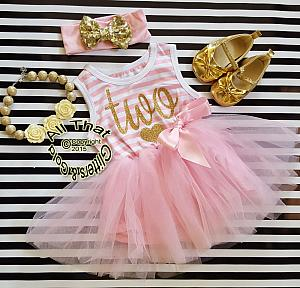 Pink and Gold Striped Birthday Age Tutu Dresses For Toddler Girls For Ages 1 to 4