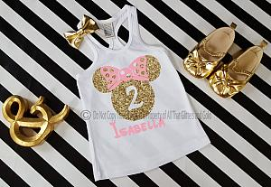 Pink and Gold Glitter Minnie Birthday Shirts For all Ages