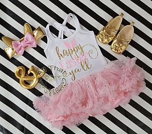 Pink and Gold Glitter 2pc Happy Easter Tutu Dresses For Toddler Girls Age 1-4