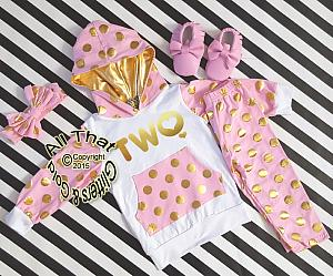 Pink and Gold 2nd Birthday Polka Dots Pants Outfit