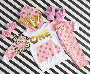 Pink and Gold 1st Birthday Polka Dots Pants Outfit