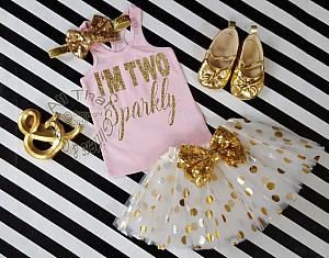 Pink and Gold I'm Two Sparkly TM Birthday Polka Dot Tutu Outfit