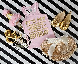 Pink and Gold It's My First Birthday Outfit With Gold Sequin Pom Pom Bloomers