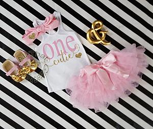 Pink and Gold One Cutie Outfit With Pink Tutu Skirt