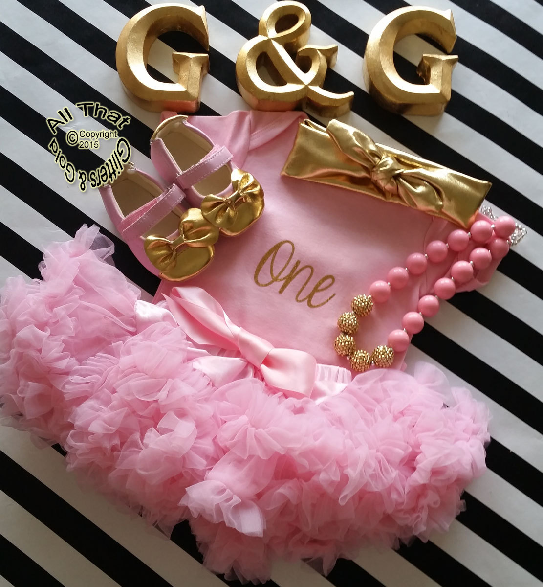 Pink and Gold One 1st Birthday Outfit With Pink Tutu Pettiskirt
