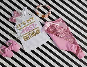 Pink and Gold It's My First Birthday Sequin Pants Outfit