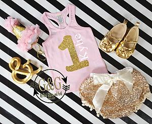 Pink and Gold Personalized 1st Birthday Outfit With Gold Sequin Pom Pom Bloomers