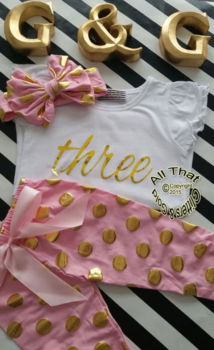 Pink and Gold Polka Dot 2nd 3rd 4th Girls Birthday Pants Outfits