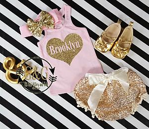 Pink and Gold Personalized Heart Outfit With Gold Sequin Pom Pom Bloomers Ages 1 to 3