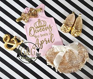 Pink and Gold Queens Outfit With Gold Sequin Pom Pom Bloomers Ages 1 to 3 - Any Month!