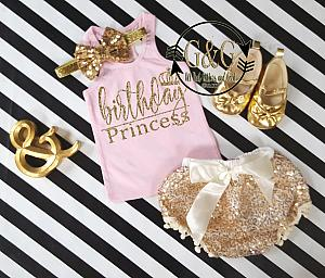 Pink and Gold Birthday Princess Outfit With Gold Sequin Pom Pom Bloomers Ages 1 to 3