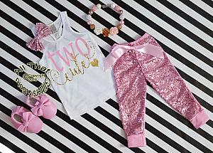 Pink and Gold Two Cute Sequin Birthday Pants Outfit