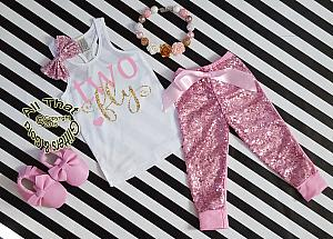 Pink and Gold Two Fly Sequin Birthday Pants Outfit