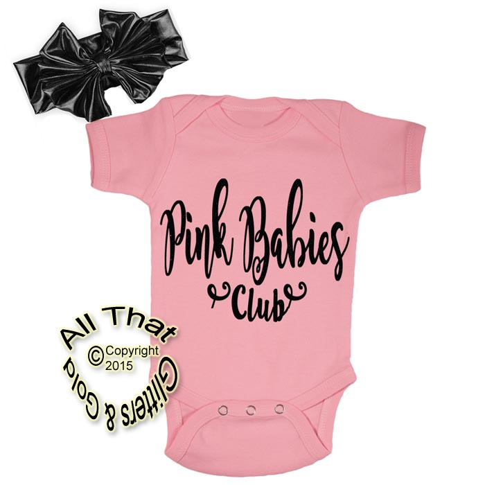 2 Pc Pink and Black Glitter Pink Babies Club Grease Baby Girl Outfit