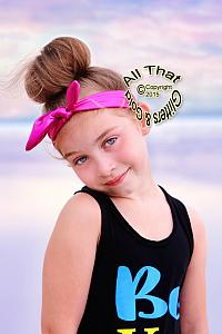 Hot Pink Metallic Knot Baby and Little Girls Stretch Headbands