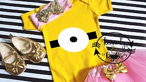 Cute Pink Minion Birthday Tutu Costume For Baby Girls and Little Girls