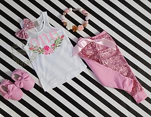 Pink and Gold Floral Print 1st Birthday Sequin Pants Outfit