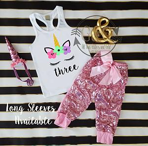 Pink Unicorn Face Sequin Birthday Pants Outfit Ages 1 6