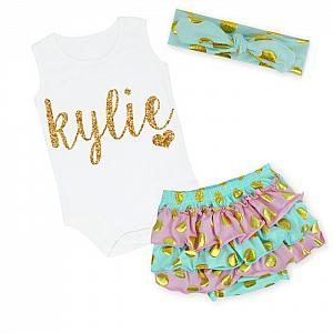 Cute Mint, Pink and Gold Personalized Baby Girl Polka Dot Ruffled Bloomer Outfit