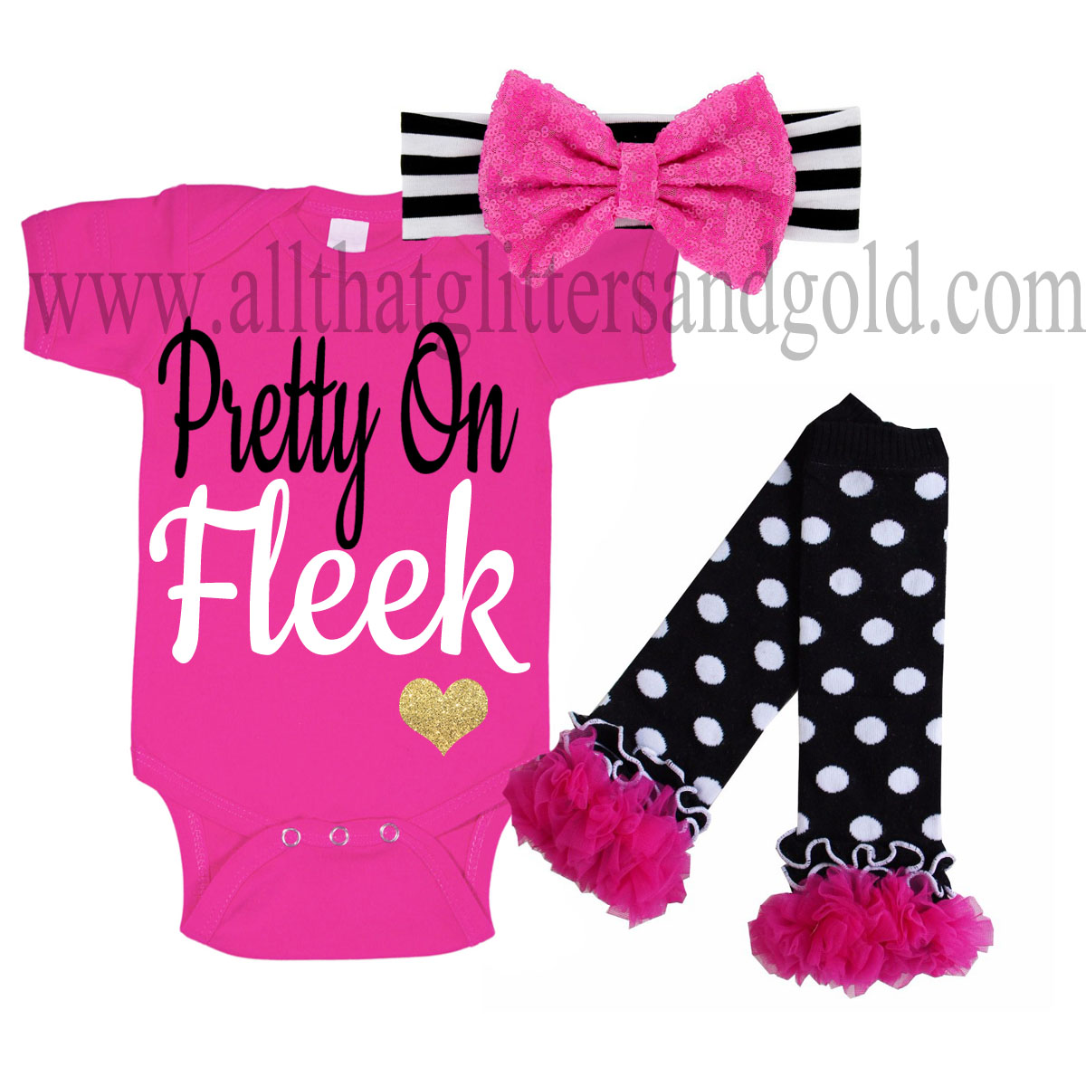 Hot Pink, Black and Gold Pretty On Fleek Baby Girl Outfit