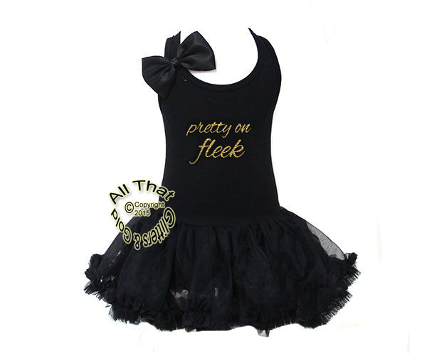 Gold Pretty On Fleek Black Boutique Tutu Dresses For Little Girls