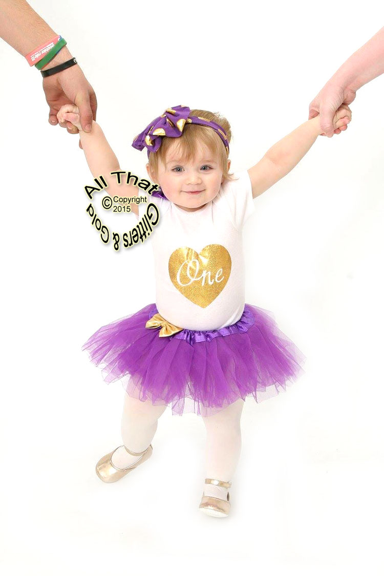 bbb3c1558087 Cute Gold 1st Birthday Outfits - Purple and Gold One First Birthday ...
