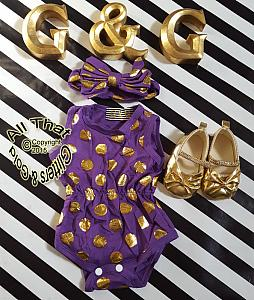 a41dd1cf8d45 ... Purple and Gold Polka Dot Baby Girls Tank Sleeveless Bodysuits Rompers