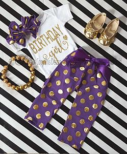Purple and Gold Polka Dot One Year Old Birthday Girl Pants Outfits For Baby Girls