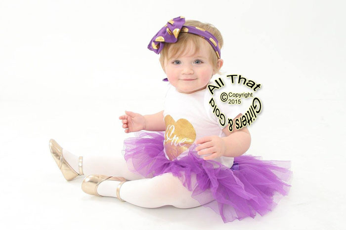 Purple and Gold One In a Heart First Birthday Outfit With Purple Tutu Skirt