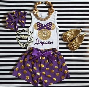 Personalized Purple and Gold Minnie Birthday Shorts Outfits For Toddlers