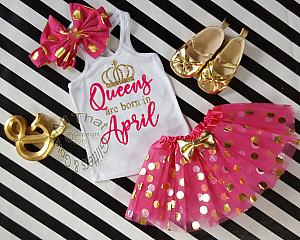 Hot Pink and Gold Queens Are Born In Polka Dot Birthday Tutu Outfit Ages 1-6
