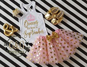 Pink and Gold Queens Are Born In Polka Dot Birthday Tutu Outfit Ages 1-Adults