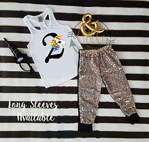 Rainbow Unicorn Sequin Birthday Pants Outfit Ages 1 6