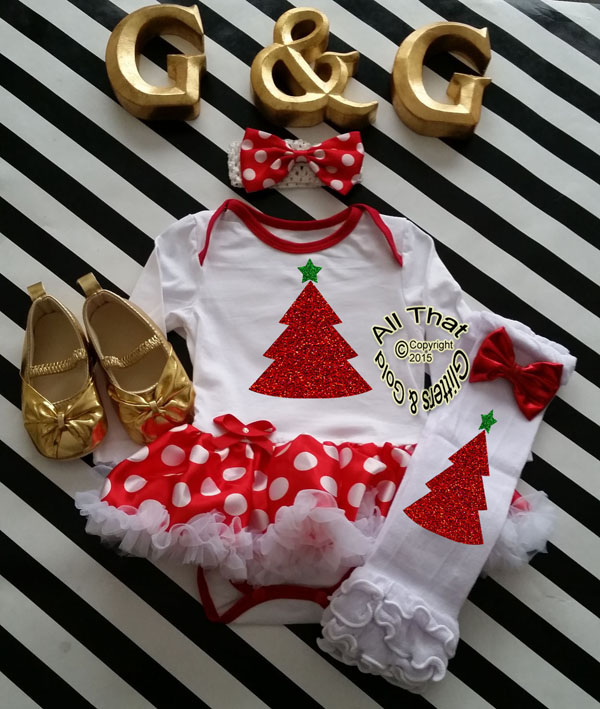 Cute 2 Piece Glitter Christmas Tree Baby Girl Tutu Dress Outfit
